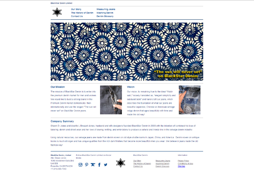 Home Page of BlackStar Denim, Limited