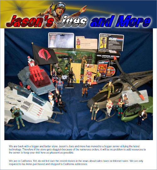 Home page of Jasons Joes and More eCommerce Store
