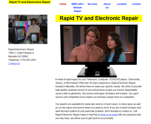 home page of Rapid Electronic Repair