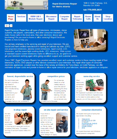 home page of Rapid repair Company